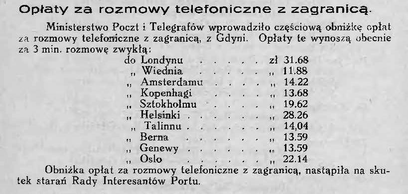 Opłaty za rozmowy telefoniczne z zagranicą
