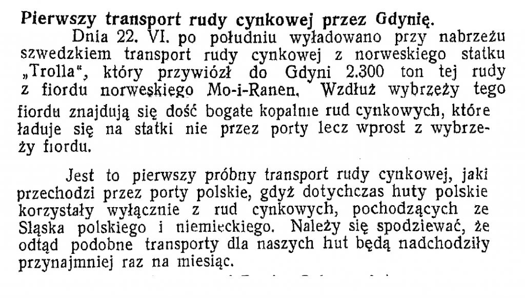 Pierwszy transport rudy cynkowe przez Gdynię