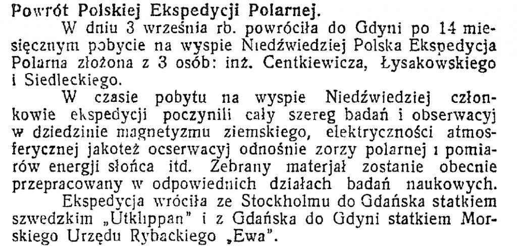 Powrót polskiej ekspedycji polarnej