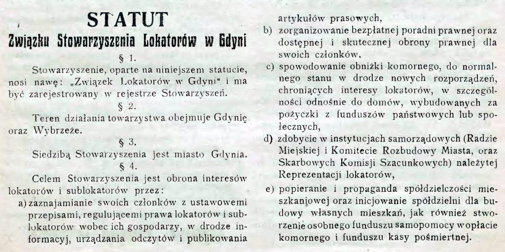Statut Związku Stowarzyszenia Lokatorów w Gdyni