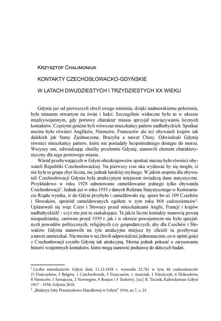 Kontakty czechosłowacko-gdyńskie w latach dwudziestych i trzydziestych XX wieku