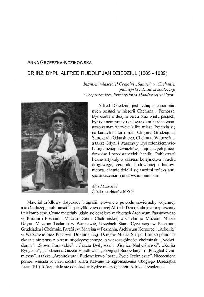 Dr inż. dypl. Alfred Rudolf Jan Dziedziul (1885-1939)