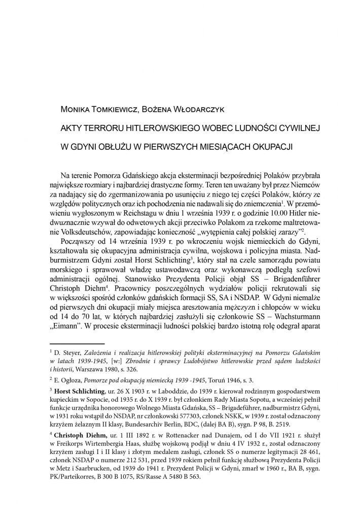Akty terroru hitlerowskiego wobec ludności cywilnej w Gdyni Obłużu w pierwszych miesiącach okupacji