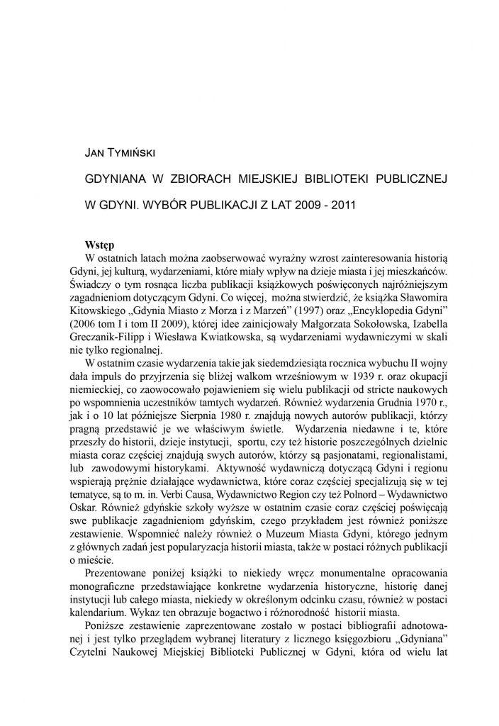 Gdyniana w zbiorach Miejskiej Biblioteki Publicznej w Gdyni. Wybór publikacji z lat 2009-2011