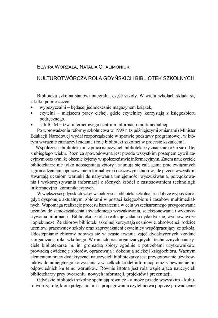 Kulturotwórcza rola gdyńskich bibliotek szkolnych
