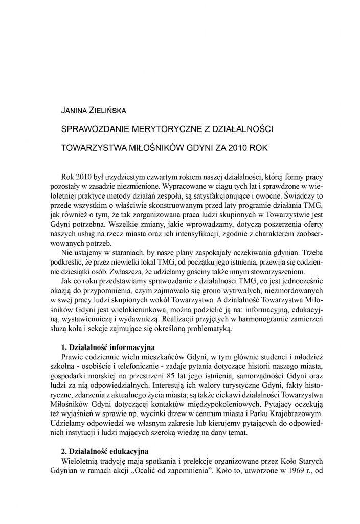 Sprawozdanie merytoryczne z działalności Towarzystwa Miłośników Gdyni za 2010 rok