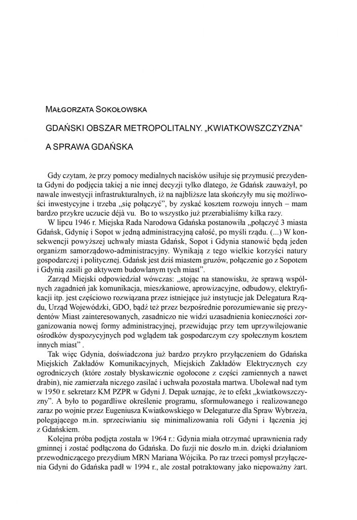 """Gdański Obszar Metropolitalny. """"Kwiatkowszczyzna"""" a sprawa gdańska"""