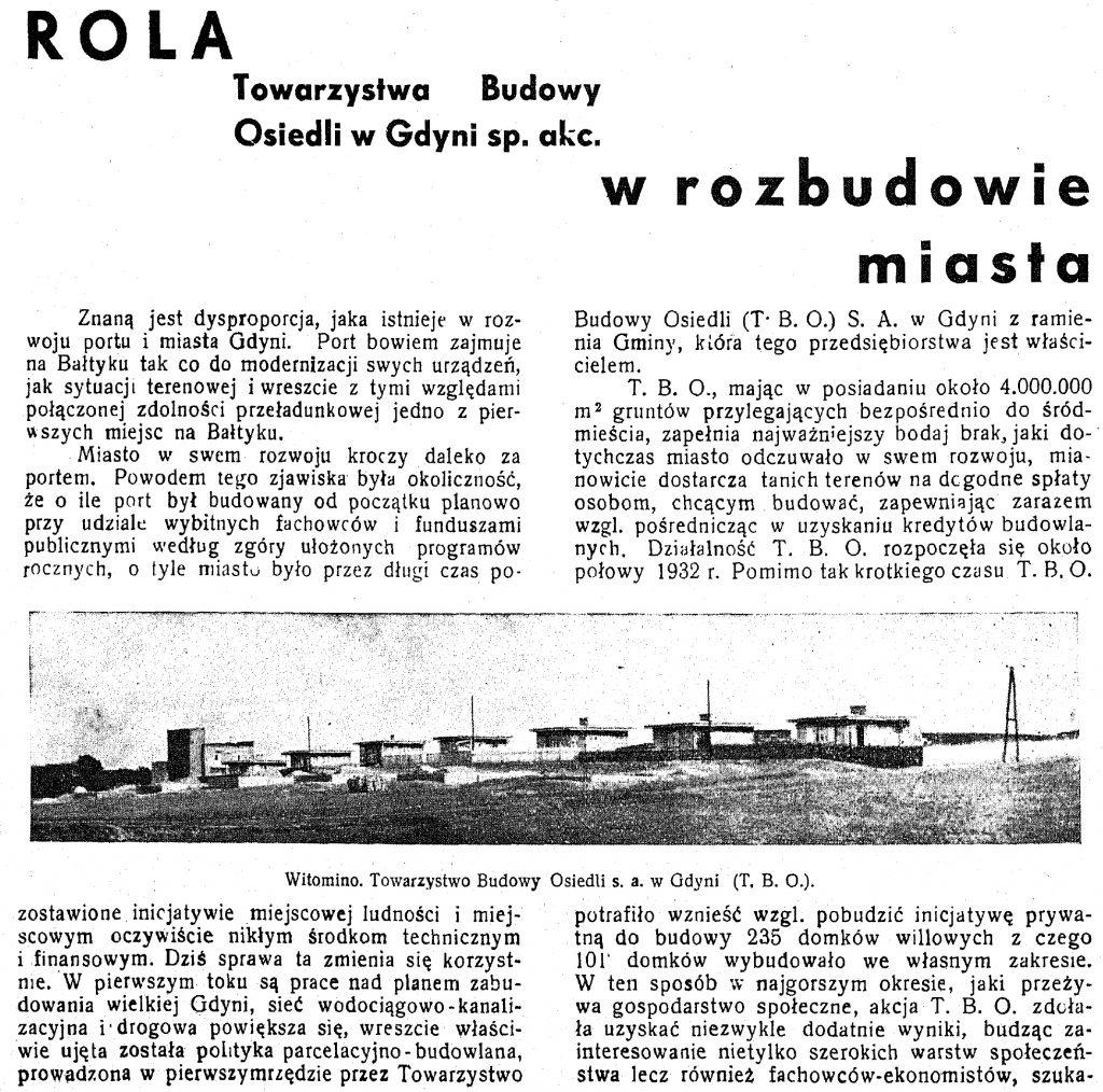 Rola Towarzystwa Budowy Osiedli w budowie miasta