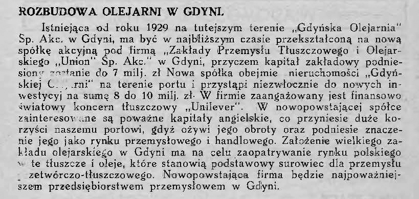Rozbudowa olejarni w Gdyni