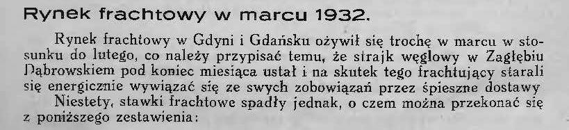 Rynek frachtowy w marcu 1932 r.