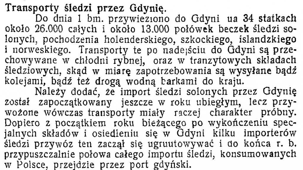 Transporty śledzi przez Gdynię