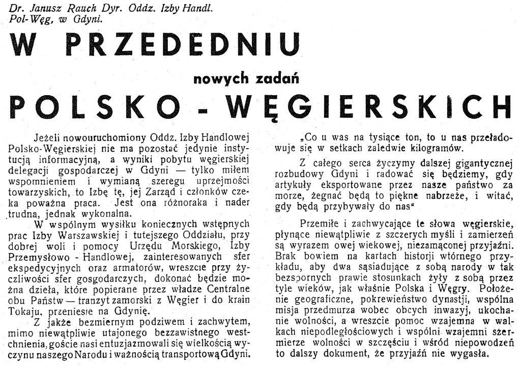 W przededniu nowych zadań polsko - węgierskich