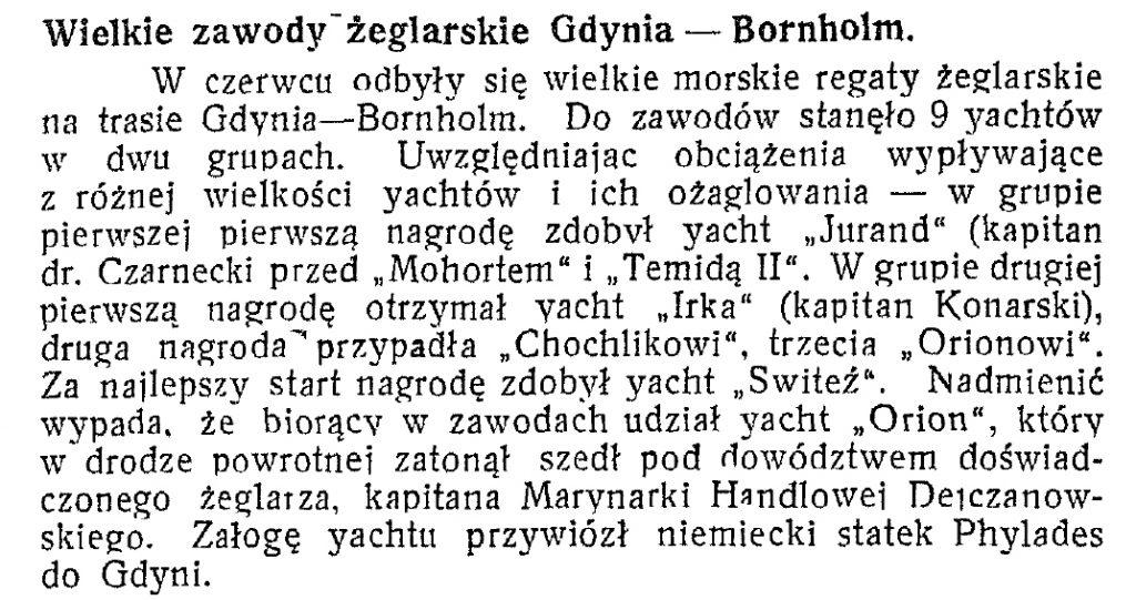 Wielkie zawody żeglarskie Gdynia - Bornholm