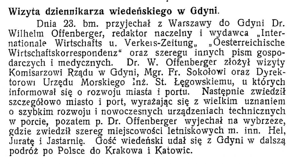 Wizyta dziennikarza wiedeńskiego w Gdyni