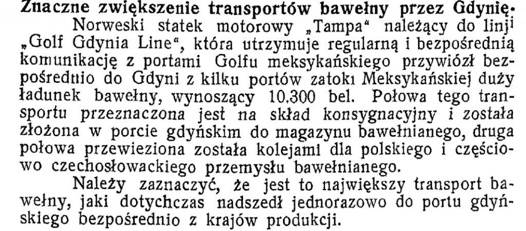 Znaczne zwiększenie transportów bawełny przez Gdynię