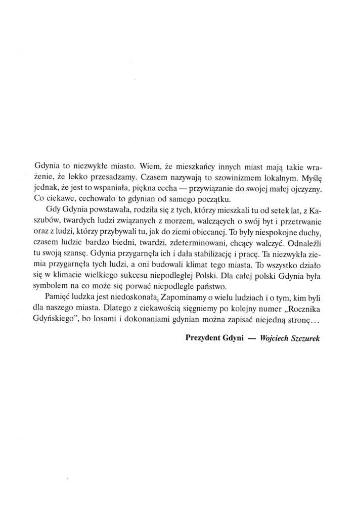 Słowo wstępne Prezydenta Miasta Gdyni - dr. Wojciecha Szczurka