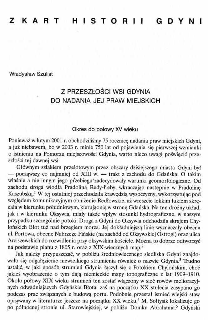 Z przeszłości wsi Gdynia do nadania jej praw miejskich