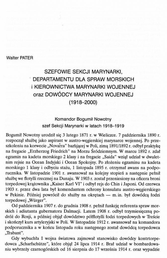 Szefowie Sekcji Marynarki , Departamentu dla Spraw Morskich i kierownictwa Mar. Woj. oraz dowódcy Mar. Woj.