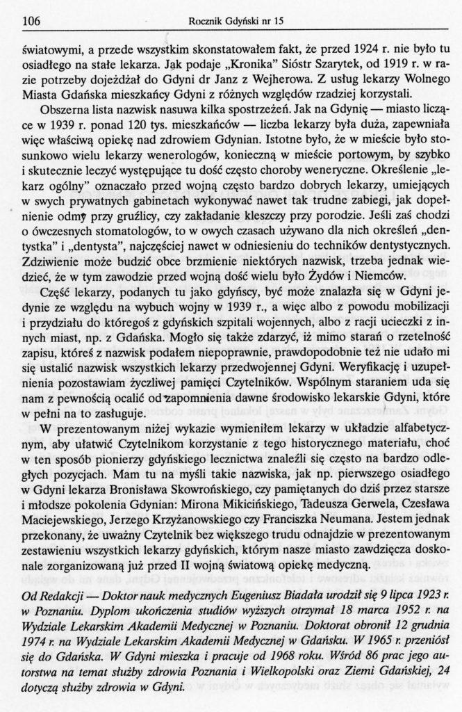 Lekarze Gdyni okresu międzywojennego (1919-1939)