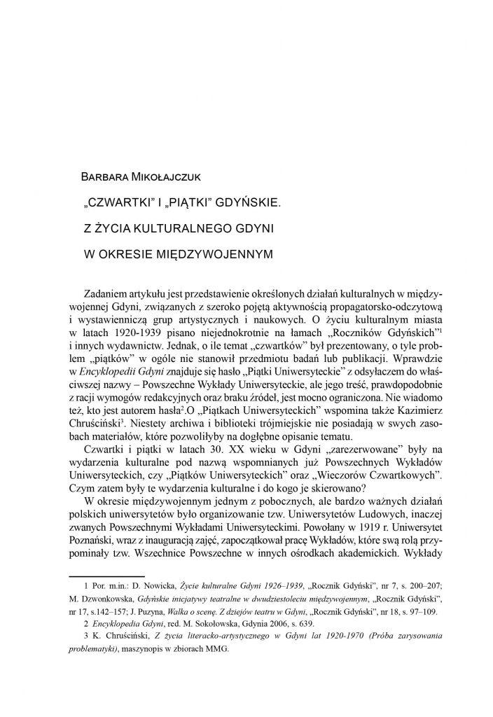 """""""Czwartki"""" i """"piątki"""" gdyńskie. Z życia kulturalnego Gdyni w okresie międzywojennym"""