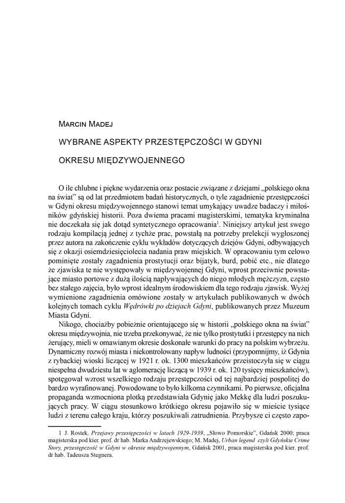 Wybrane aspekty przestępczości w Gdyni w okresie międzywojennym