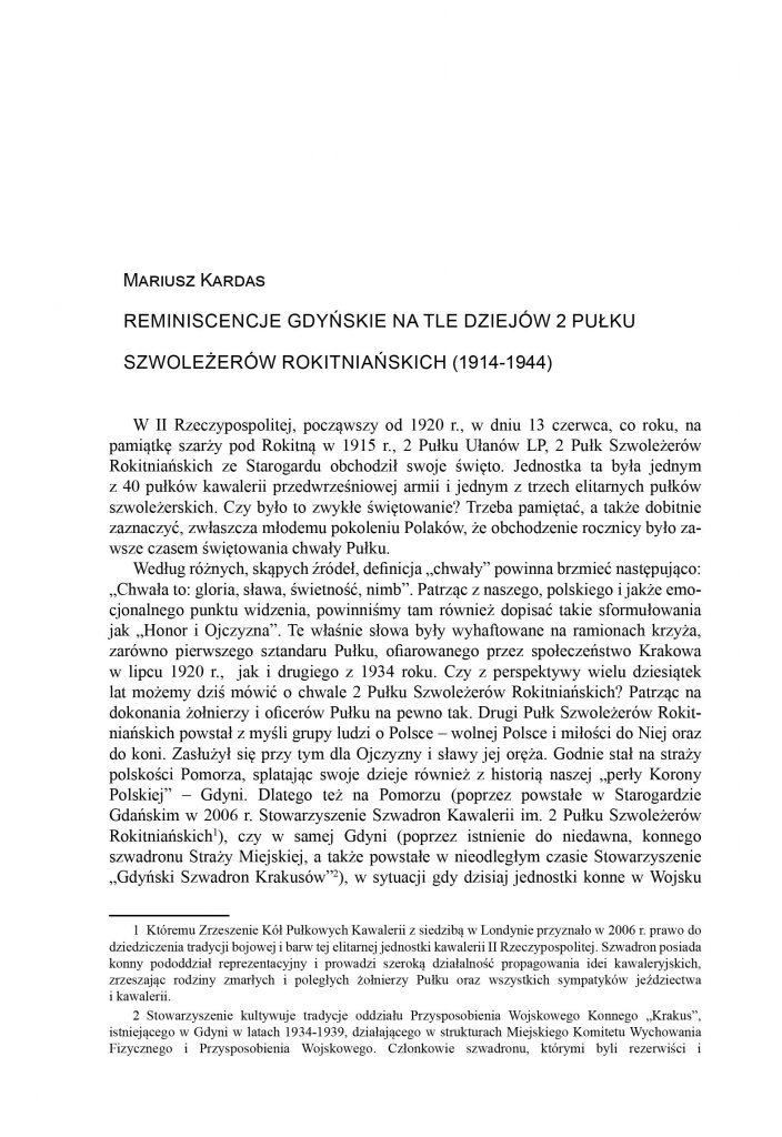 Reminiscencje gdyńskie na tle dziejów 2 Pułku Szwoleżerów Rokitniańskich (1914-1944)