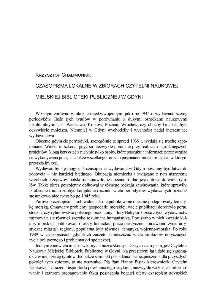 Czasopisma lokalne w zbiorach Czytelni Naukowej Miejskiej Biblioteki Publicznej w Gdyni