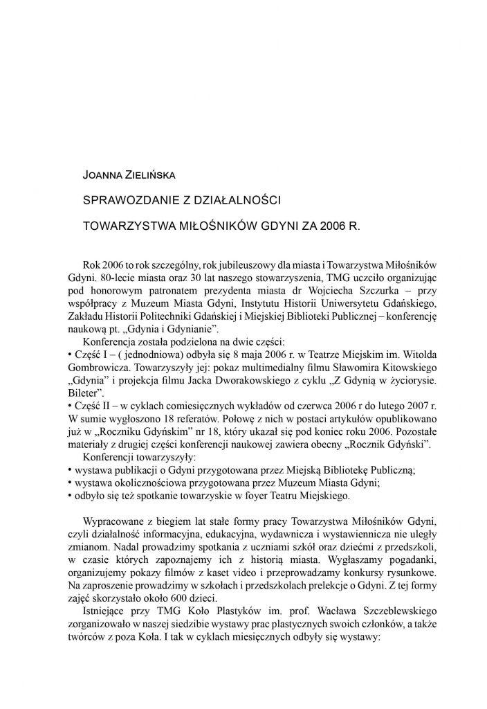 Sprawozdanie z działalności Towarzystwa Miłośników Gdyni z 2006 roku
