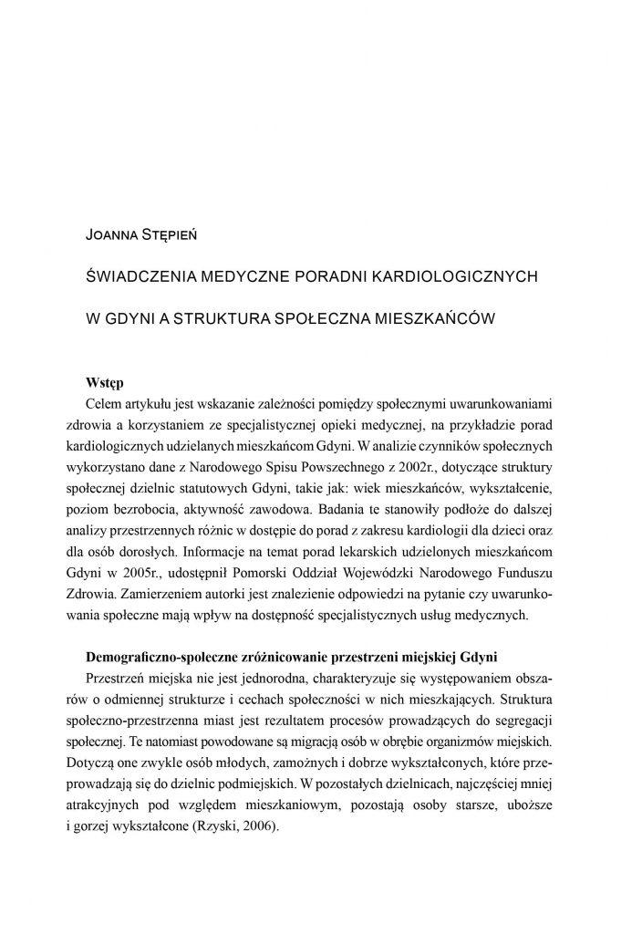 Świadczenia medyczne poradni kardiologicznych w Gdyni a struktura społeczna mieszkańców