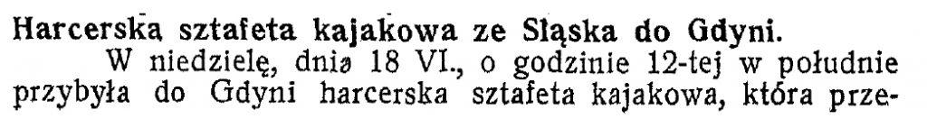 Harcerska sztafeta kajakowa ze Śląska do Gdyni
