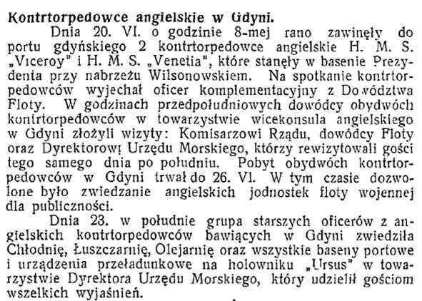 Kontrtorpedowce angielskie w Gdyni