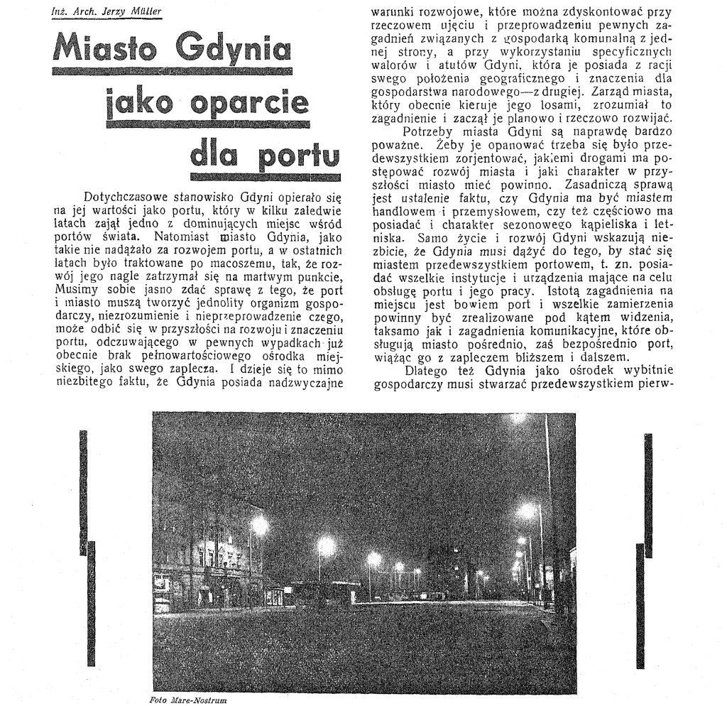 Miasto Gdynia jako oparcie dla portu