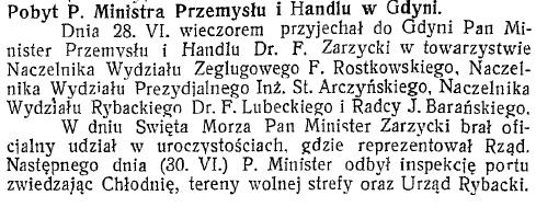 Pobyt P. Ministra Przemysłu i Handlu w Gdyni