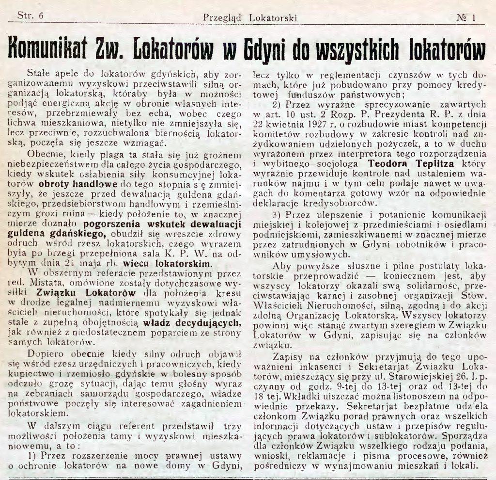 Komunikat Zw. Lokatorów w Gdyni do wszystkich lokatorów