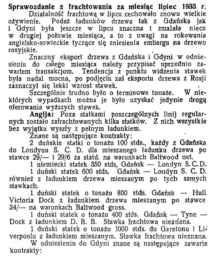 Sprawozdanie z frachtowania za miesiąc lipiec 1933 r.
