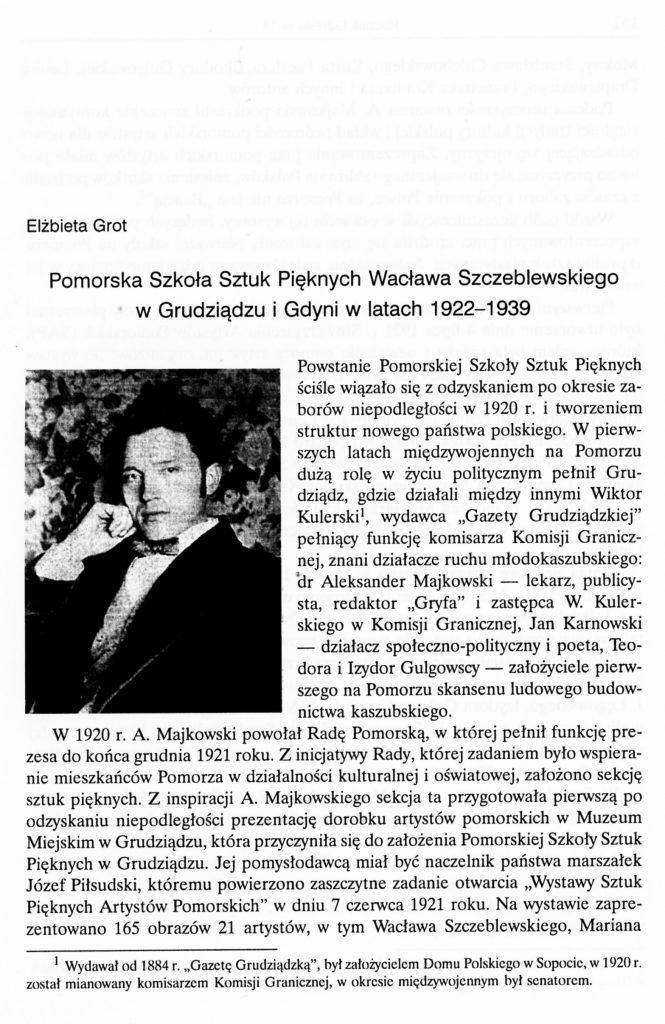 Pomorska Szkoła Sztuk Pięknych W. Szczeblewskiego w Grudziądzu i Gdyni w latach 1922-1939
