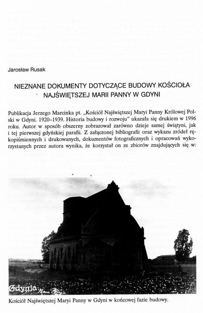Nieznane dokumenty dotyczące budowy kościoła Najświętszej Marii Panny w Gdyni