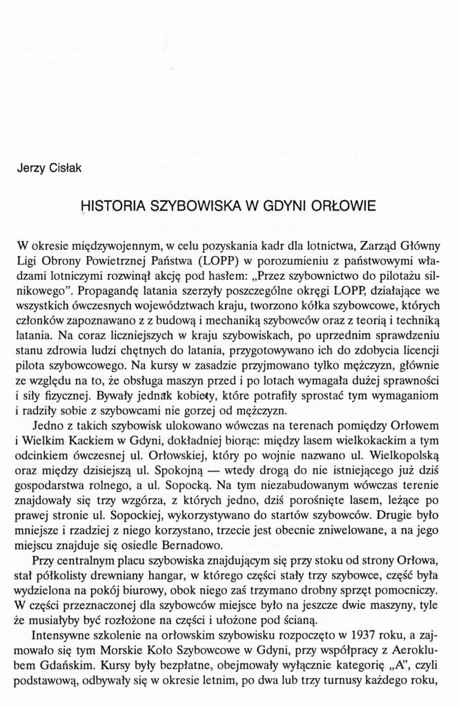 Historia szybowiska w Gdyni Orłowie