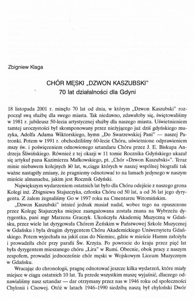 """Chór Męski """"Dzwon Kaszubski"""". 70 lat działalności dla Gdyni"""