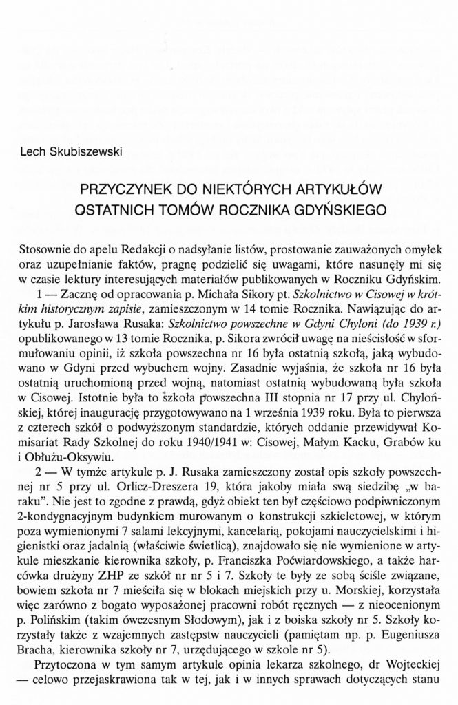 """Przyczynek do niektórych artykułów ostatnich tomów """"Rocznika Gdyńskiego"""""""