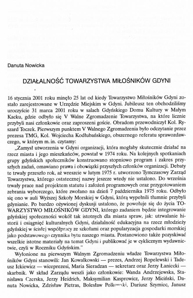 Działalność Towarzystwa Miłośników Gdyni
