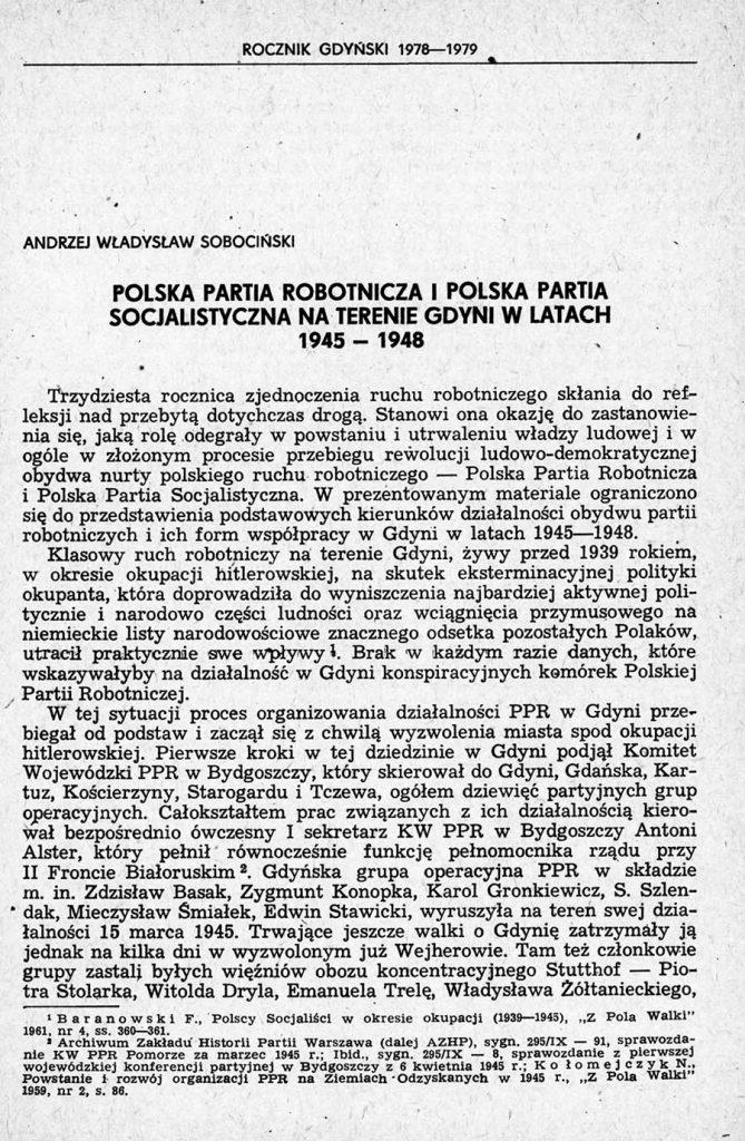 Polska Partia Robotnicza i Polska Parta Socjalistyczna na terenie Gdyni w latach 1945-1948