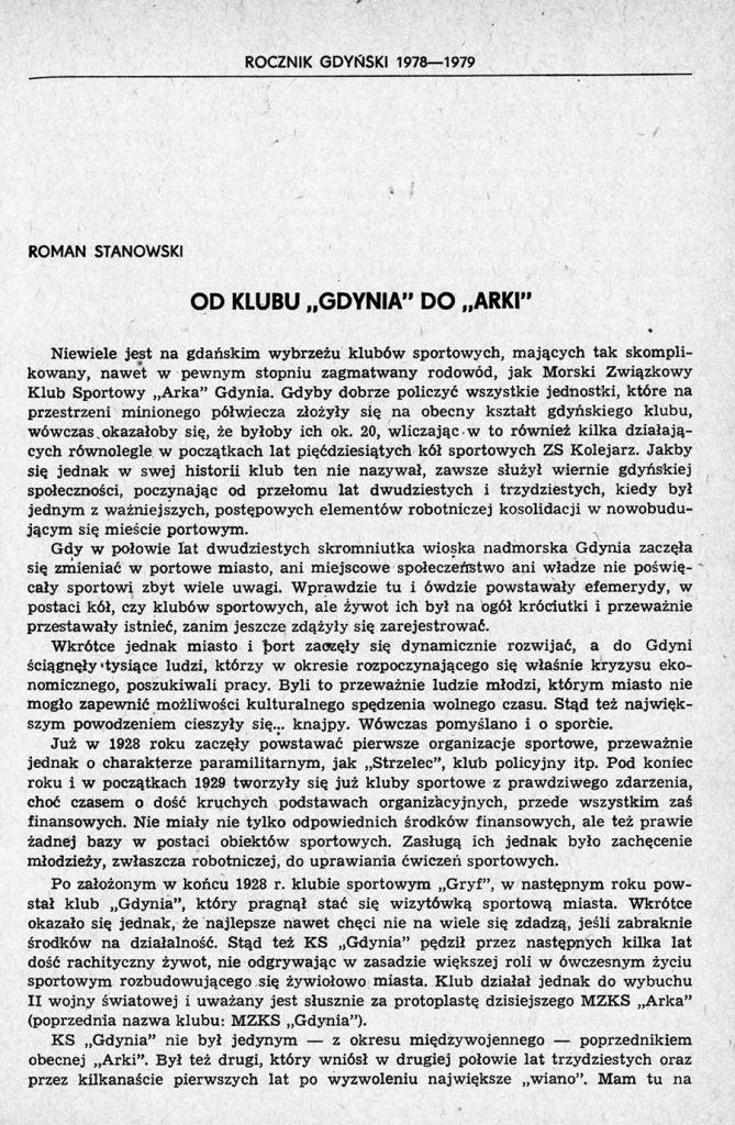 """Od klubu """"Gdynia"""" do """"Arki"""""""