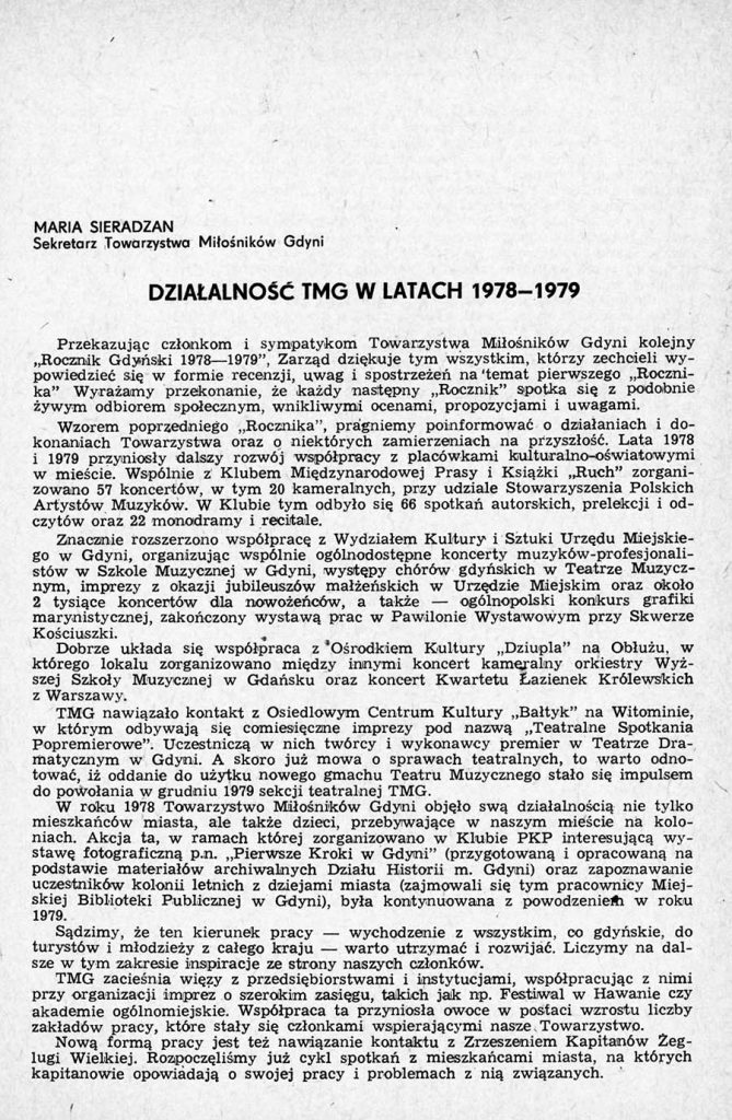 Działalność TMG w latach 1978-1979