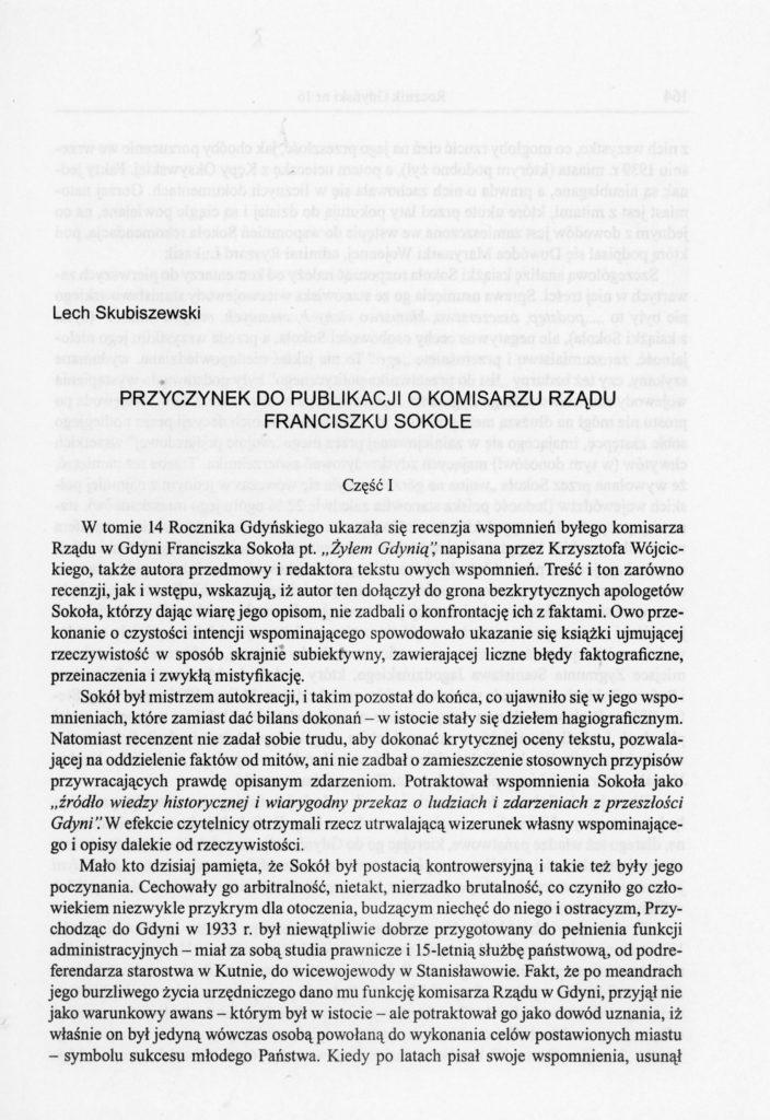 Przyczynek do publikacji o Komisarzu Rządu Franciszku Sokole