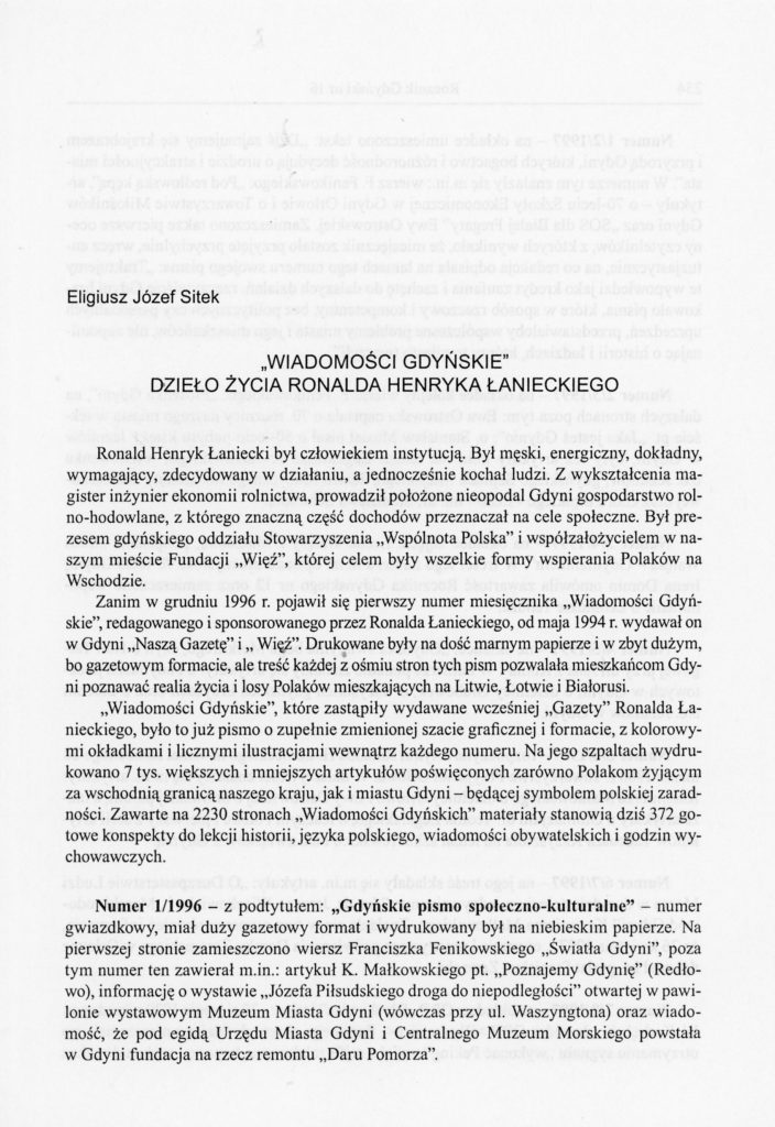 """""""Wiadomości Gdyńskie"""" - dzieło życia Ronalda H. Łanieckiego"""