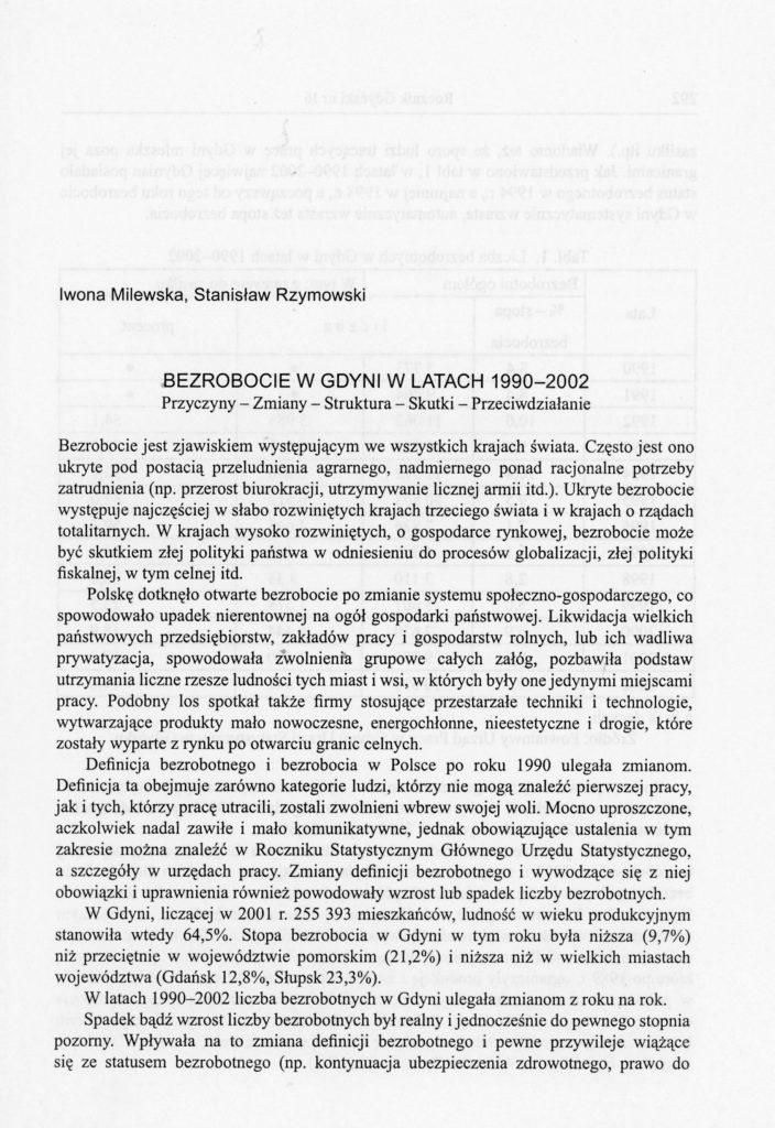 Bezrobocie w Gdyni w latach 1990-2002
