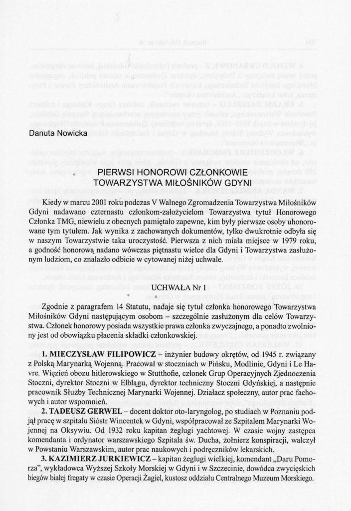 Pierwsi honorowi członkowie Towarzystwa Miłośników Gdyni