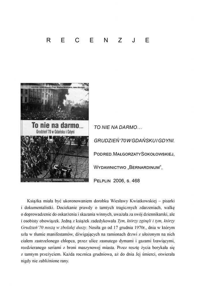 To nie na darmo... Grudzień '70 w Gdańsku i Gdyni
