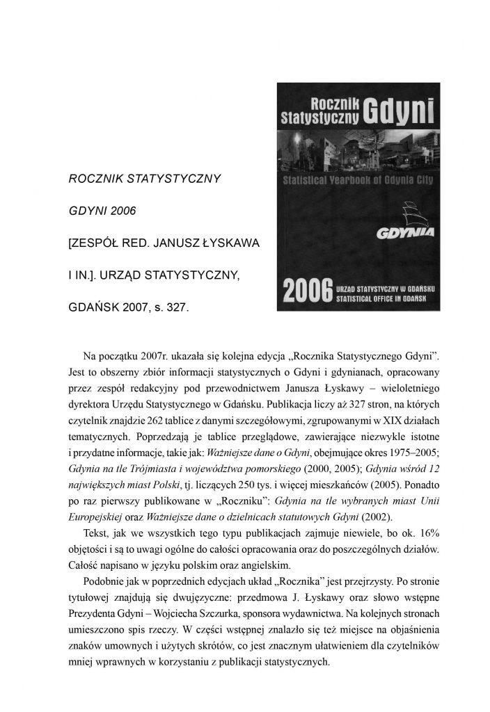 Rocznik Statystyczny Gdyni 2006